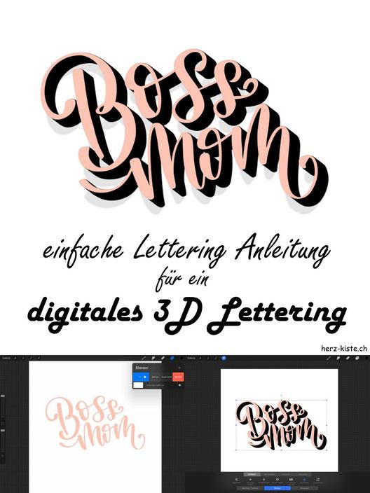 So einfach kannst du ein digitales 3D-Lettering gestalten! Lerne dank dieser einfachen Schritt für Schritt Anleitung, wie du mit dem iPad und Procreate ein 3D-Lettering gestalten kannst.