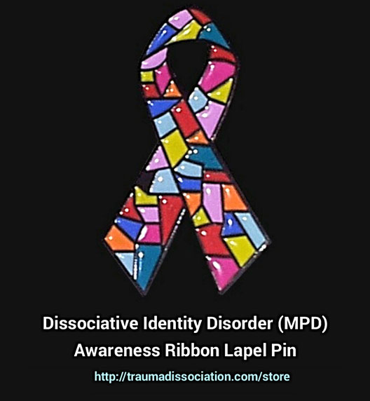 Dissociative Identity Disorder ribbon badge on sale from the store at traumadissociation.com