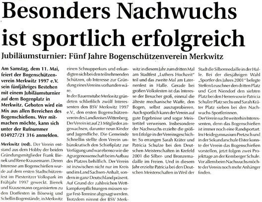 Artikel - 5 Jahre BSV Merkwitz 1997 e.V.