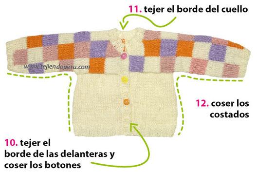 Chaqueta con cuadros tejida en dos agujas o palitos para niñas