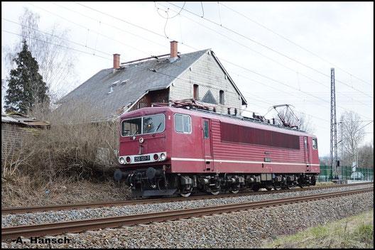 Als Prb 93826 (Probefahrt von Leipzig Hbf. nach Cottbus) rollt 155 137-3 (LEG 250 137-7) am 7. März 2016 am ehem. Abzw. Furth in Chemnitz an mir vorbei
