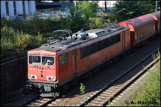 155 218-1 konnte am 25. September 2018 mit Mischer von der Bernhardtstraße in Chemnitz aus beobachtet werden