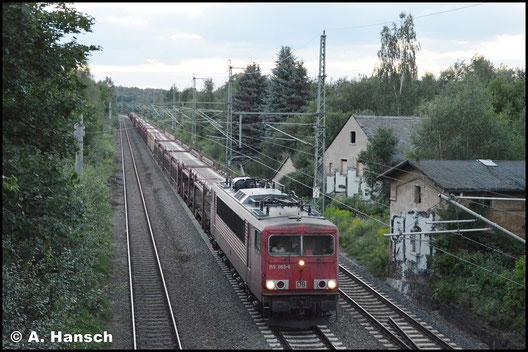 155 065-6 zieht den GA 47353 am 4. August 2017 durch Niederwiesa gen Dresden