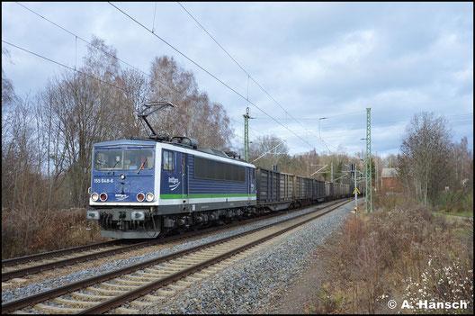 155 213-2 heißt nun 155 048-6 und gehört der PRESS. In Chemnitz-Furth begegnet mir die Lok am 8. Dezember 2019 mit dem Kokszug Bad Schandau - Glauchau