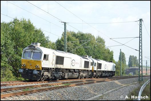 266 455-5 und 266 445-6 sind am 26. September 2016 als Lokzug T 65382 unterwegs. In Chemnitz-Furth erwischte ich die Fuhre