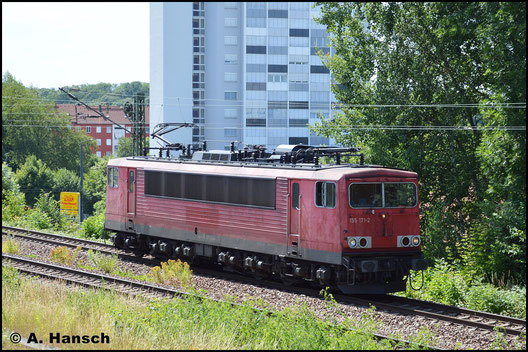 151 171-2 ist am 4. Juli 2019 Lz in Chemnitz zu sehen. Von der Zschopauer Str. aus entstand dieses Bild