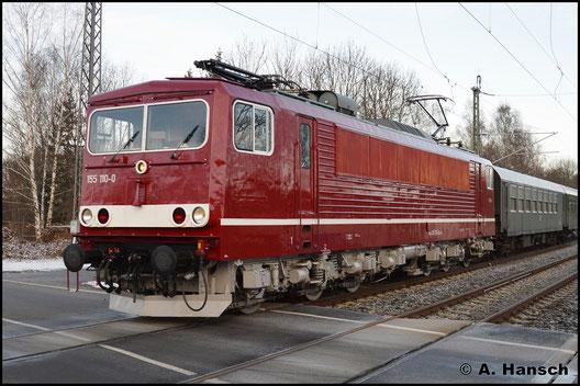 Als Ersatz für die noch nicht wieder einsatzfähige 35 1019-5 kam 155 110-0 zum Einsatz. Die Lok gehört inzwischen WFL und wurde wieder im DR-rot und mit grauem Fahrwerk lackiert
