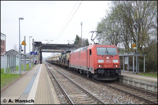 Mit amerikanischer Militärtechnik durchfährt 185 260-7 am 5. April 2017 den Hp Chemnitz-Schönau