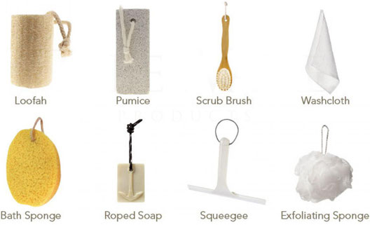 Loofah, pumice, scrub brush, washcloth, bath sponge, roped soap, squeegee, and exfoliating sponge