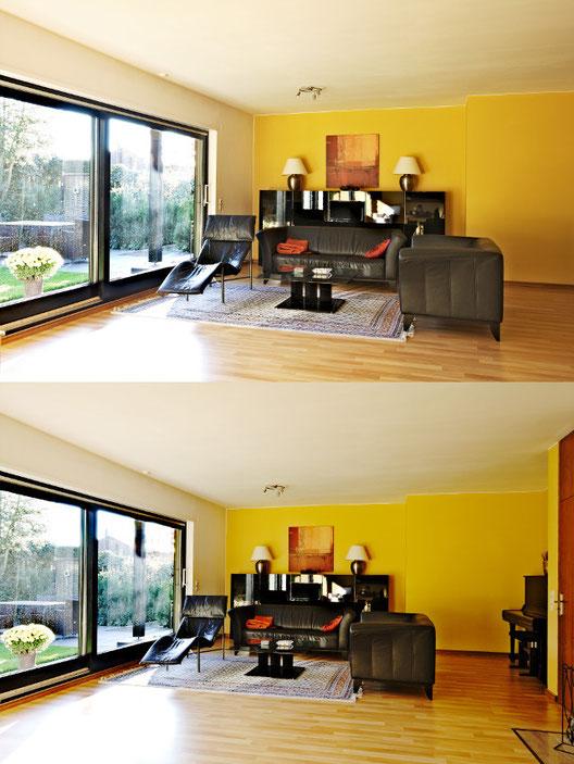 Bilder von einem Wohnzimmer, einmal fehlt die Begrenzung rechts einmal nicht, Immobilienfotos