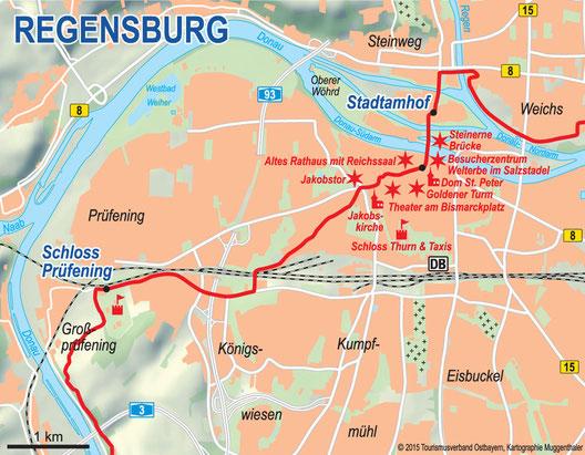 Stadtplan Regensburg mit Wegeverlauf Donau-Panoramaweg