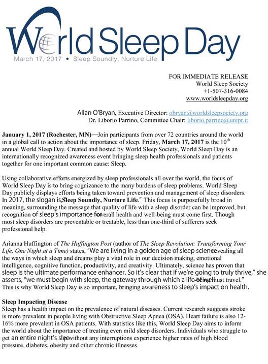 世界睡眠デー( World Sleep Day )プレスリリース   3/17は睡眠の日です。 / マニステージ福岡