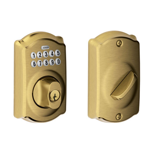 Schlage Keypad Deadbolt Lock x 609 Antique Brass Finish