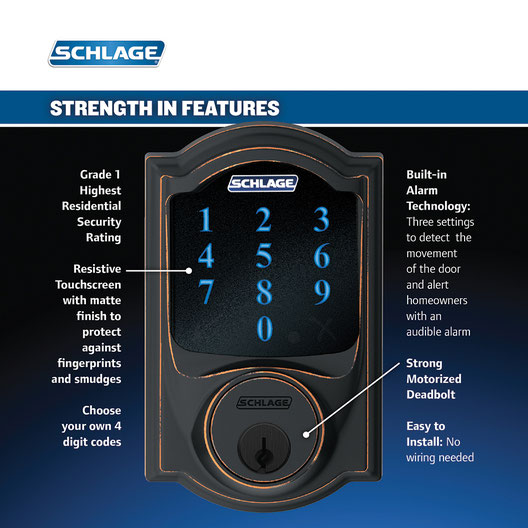 Schlage Touchscreen Deadbolt BE469NX V CAM 716 Aged Bronze Exterior Z Wave and Wink Compatible