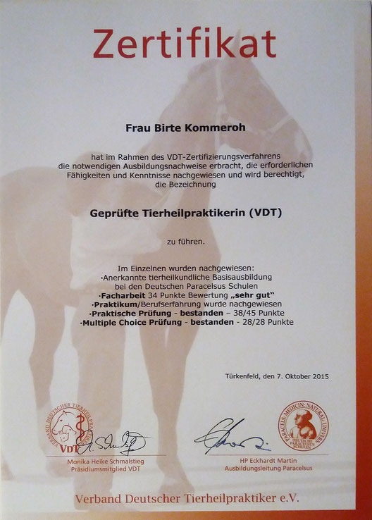 Zertifikat - Prüfungsschwerpunkt Pferd
