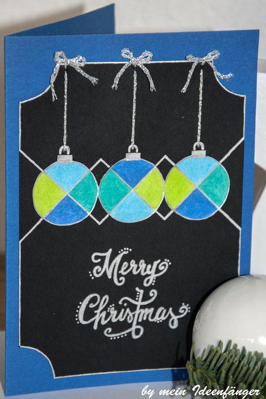 Weihnachtskarten Mit Kugelschreiber.Diy Weihnachtskarten Motiv Glaskugeln Mein Ideenfänger Diy Blog