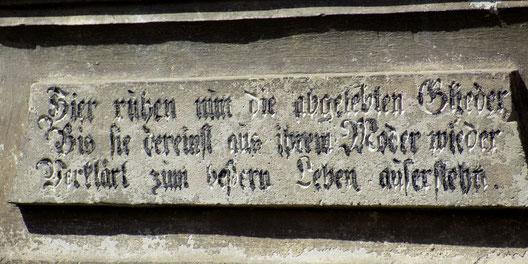 Inschrift Taucherfriedhof Bautzen Bild: Susann Wuschko