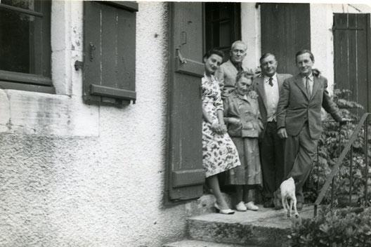 Marie-Thérèse, Marc, Paul, Pierre et Jacqueline Chadourne (2nde épouse de Marc Chadourne) au Bousquet, à Cublac