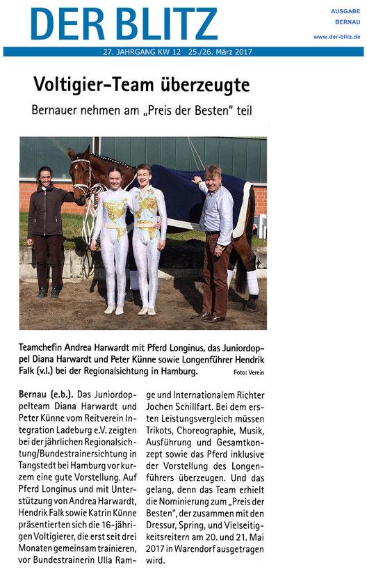 """Juniordoppelteam des RVI nominiert zum """"Preis der Besten"""" in Warendorf, erschienen am 25./26.03.2017 in """"Der Blitz"""" und am  17.03.2017 in der MOZ"""