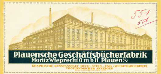 Gebäudeekomplex Rädeelstr. 7 u. Bergstr. 9,11 auf einem Briefkopf der Plauenschen Geschäftsbücherfabrik von 1924