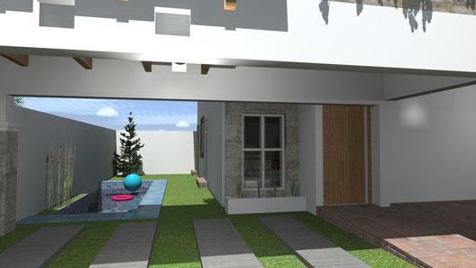 Este modelo se puede construir con piscina de obra en el jardin