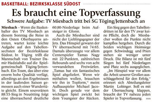 Artikel im Miesbacher Merkur am 21.1.2017 - Zum Vergrößern klicken