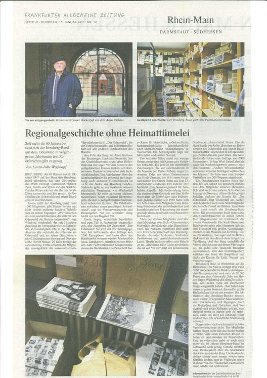 Frankfurter Allgemeine Zeitung vom 15.01.2013: Regionalgeschichte ohne Heimattümelei