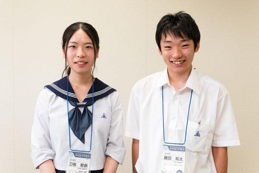 左から 刀祢若奈さん、殿田祐太くん(3年)