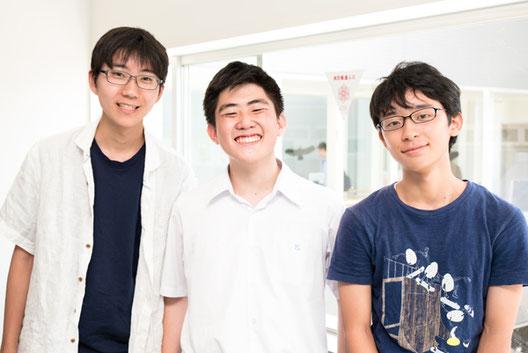 左から 原悠介くん(1年)、鈴木泰我くん(3年)、酒井駿輔くん(1年)