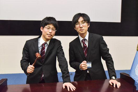 左から 北口智章くん(2年)、柳津 聡くん(1年)