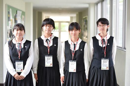 左から 佐藤有花さん(3年)、齋藤仁見さん(2年)、今橋春日さん(3年)、松倉亜里紗さん(3年)