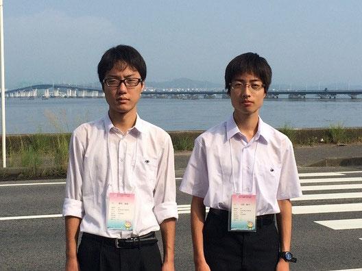 左から横井海星くん(3年)、江尻敬介くん(3年)、