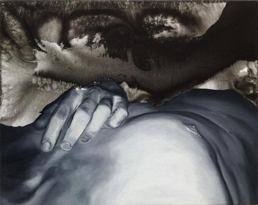 ohne Titel # Körper 1, Öl- und Wasserfarbe auf Leinwand, 40cm x 50cm, 2017