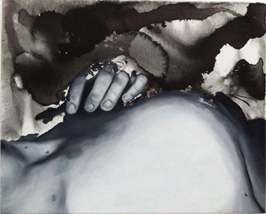 ohne Titel # Körper 3, Öl- und Wasserfarbe auf Leinwand, 40cm x 50cm, 2017