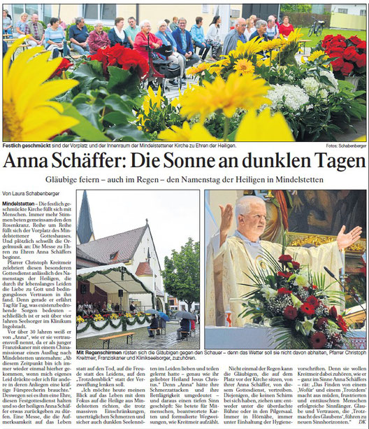 Anna Schäffer: Die Sonne an dunklen Tagen, von Laura Schabenberger, Donaukurier, Riedenburger Ausgabe, 28.07.2021