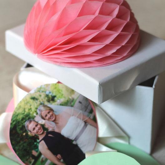 Bild: Geschenkideen für Trauzeugin und Brautjungfern, gefunden auf Partystories.de, DIY Girlanden Box von twoweddingsisters