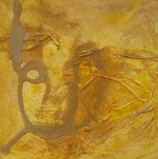 ohne Titel, 40 x 40 cm, Acrylfarbe, Kaseinfarbe, Sand, Seidenpapier