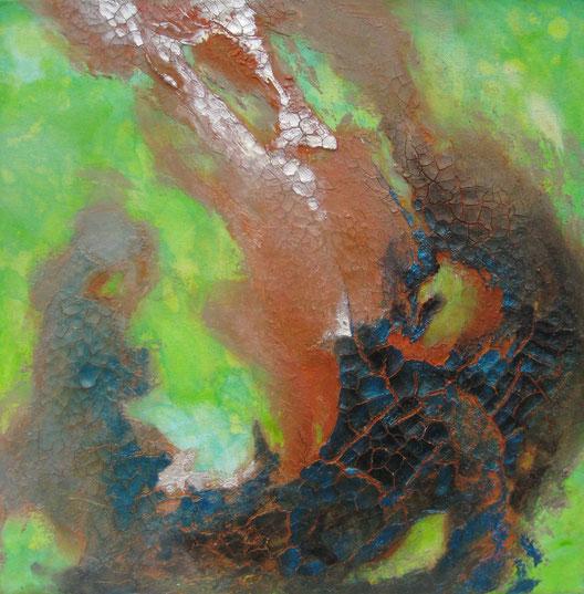 ohne Titel, 40 x 40 cm, Spachtelmasse, Acrylfarbe, Pigmente