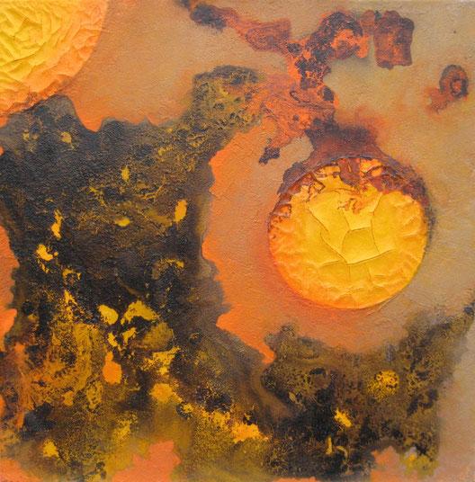Aus der Reihe: Tanz auf dem Vulkan, 70 x 70 cm, Spachtelmasse, Acrylfarbe, Lackspray, Pigmente, verkauft