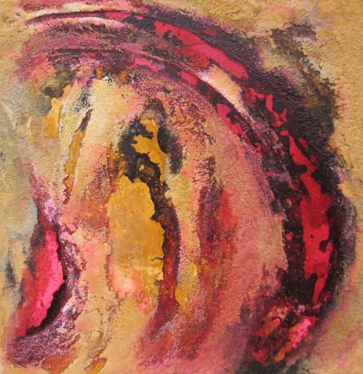 ohne Titel, 30 x 30 cm, Spachtelmasse, Tusche, Acrylfarbe