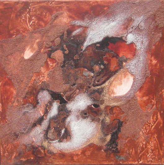Mutter Erde, 30 x 30 cm, Tusche, Sand, Pigmente, Acrylfarbe