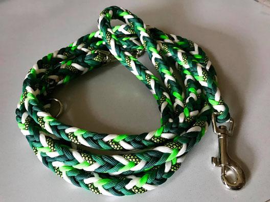 Leine eckig breit - Farben: weiß, neongrün, mittelgrün, dunkelgrün, neongrün-diamond