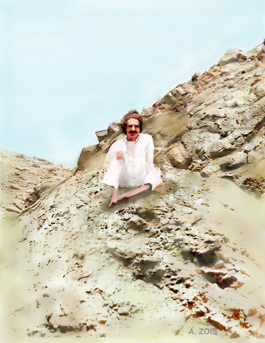 Meher Baba near Quetta. Image colourized by Anthony Zois.