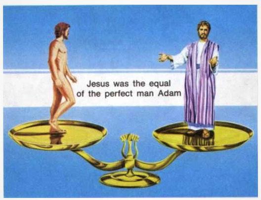 Jésus a offert à l'humanité son sang parfait d'une valeur inestimable et son corps parfait, équivalent à ce qu'Adam, le premier homme, avait perdu selon le principe d'équivalence. «Voici l'Agneau de Dieu qui enlève le péché du monde. »
