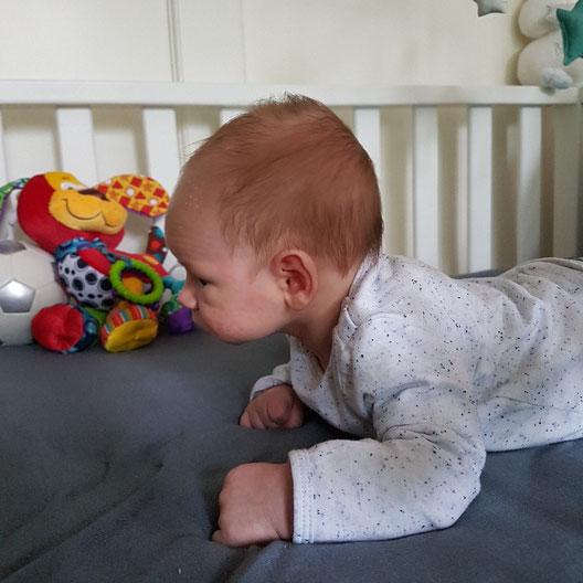 Dean 3,5 weken oud en al knap een tijdje zijn hoofd omhoog kunnen houden