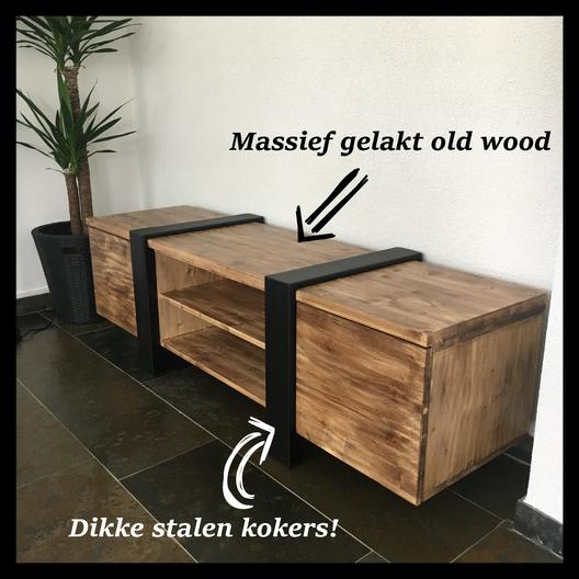 Super tv meubels staal & hout. - Unieke stoere meubelen van zwart staal &CV77