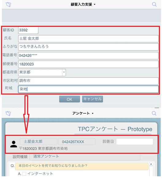 """""""OK""""するとアンケート画面に入力した情報が表示されます(図はiPad/FileMaker Go"""