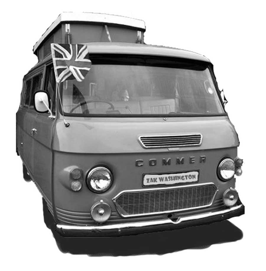 British Culture photo: Vintage Commer camper van with union jack flag