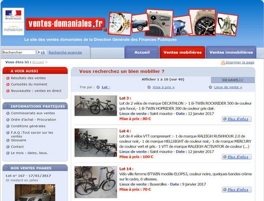 page d'accueil vente domaniales