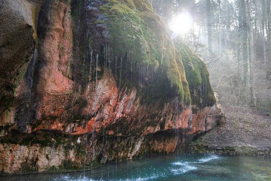 Luxembourg, hiking area, limestone, weeping rock